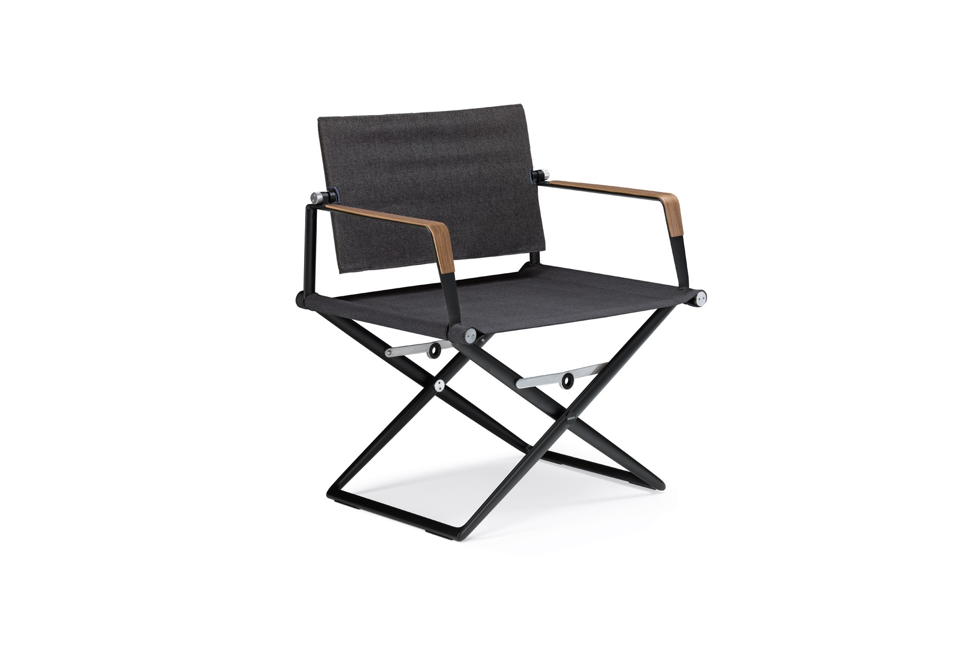 Dedon Seax lounge chair black sail shade armrests