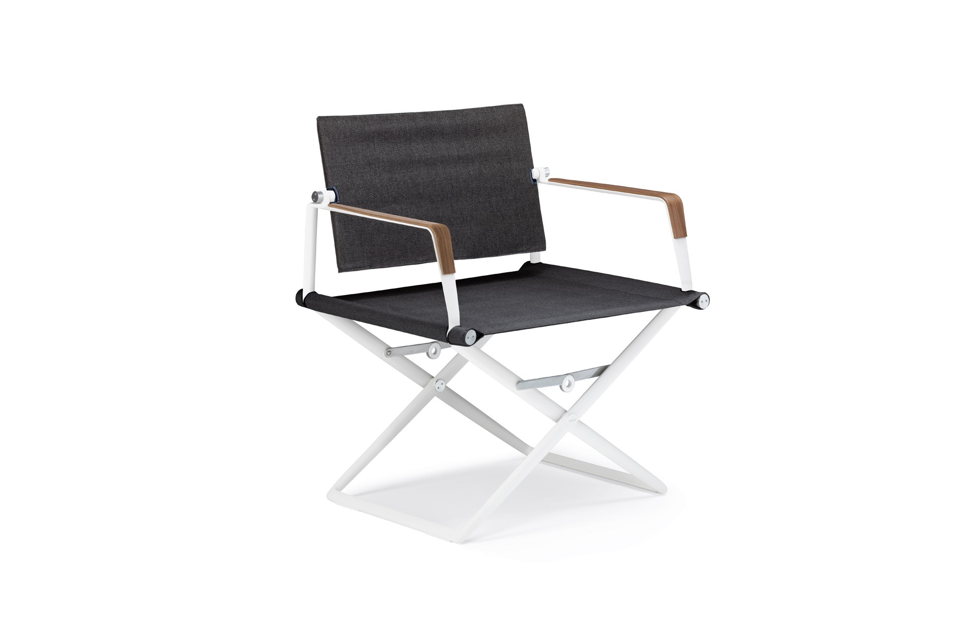 Dedon Seax lounge chair white sail shade armrests